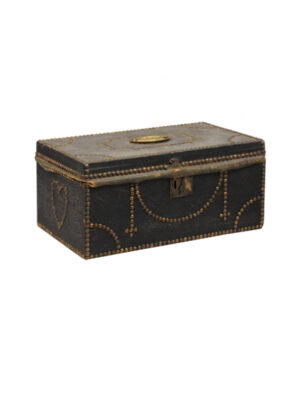 19th Century Brass Studded Leather Lock Box