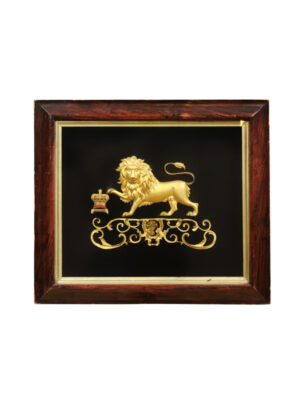 19th Century English Gilt Bronze Lion on Velvet