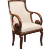 19th Century French Empire Chair with Scroll Arms