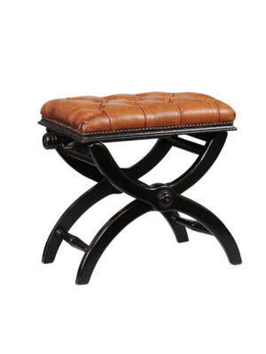 20th Century Ebonized X-Leg Bench