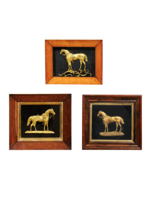 Framed Gilt Bronze Horses on Velvet