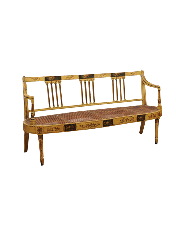 George III Painted Settee with Caned Seat