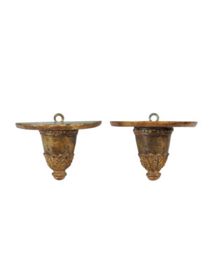 Italian Giltwood & Green Painted Wall Brackets