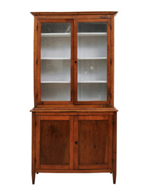 Neoclassical Fruitwood Bookcase with Glass Paneled Doors