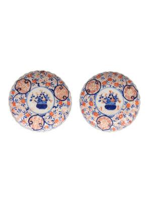 Pair 19th C Imari Plates