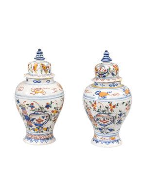 Pair 19th Century Polychrome Painted Delft Jars