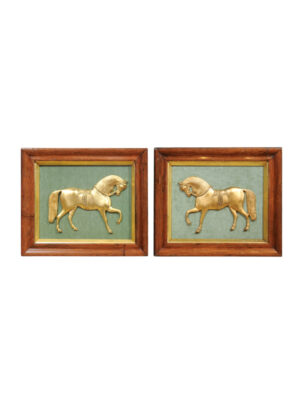 Pair Framed 19th Century Gilt Bronze Horses