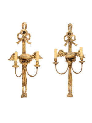 Pair Giltwood 2-Light Sconces