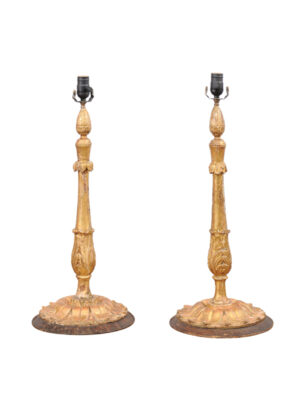 Pair Giltwood Candlestick Lamps