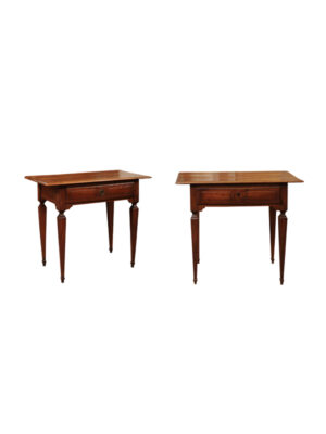 Pair Neoclassical Style Walnut Side Tables