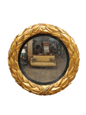 Regency Bullseye Mirror with Laurel Leaves