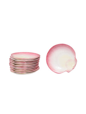 Set 11 Wedgewood Pink Shell Shaped Plates