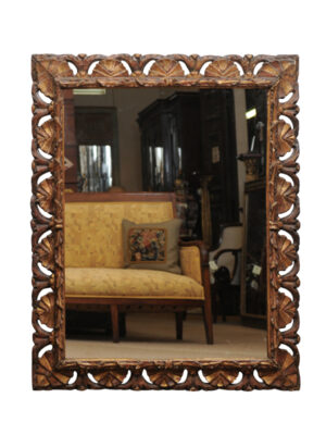 17th Century Italian Carved Giltwood Mirror