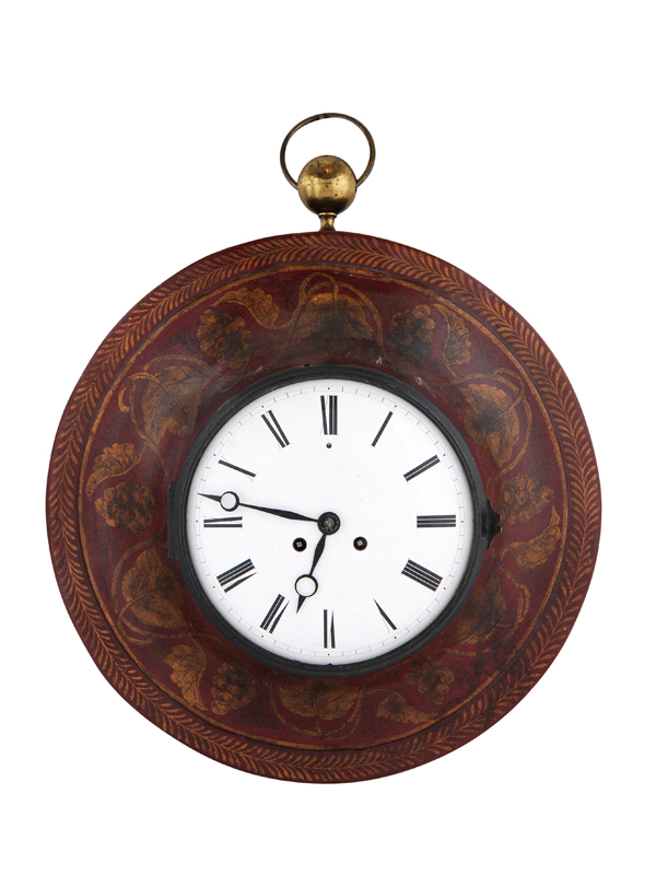 19th Century French Red Painted Tole Wall Clock