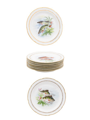 8 French Porcelain Plates with Fish