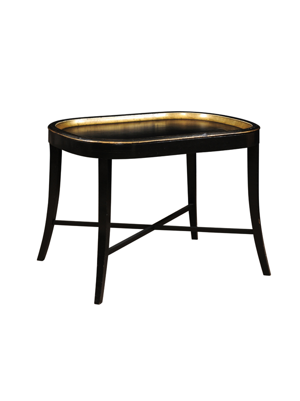 Black Painted Tole Tray on Stand