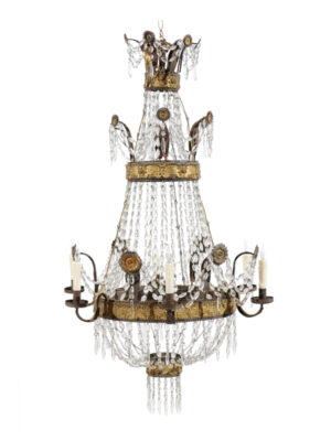 Italian Neoclassical Gilt Metal & Crystal Chandelier