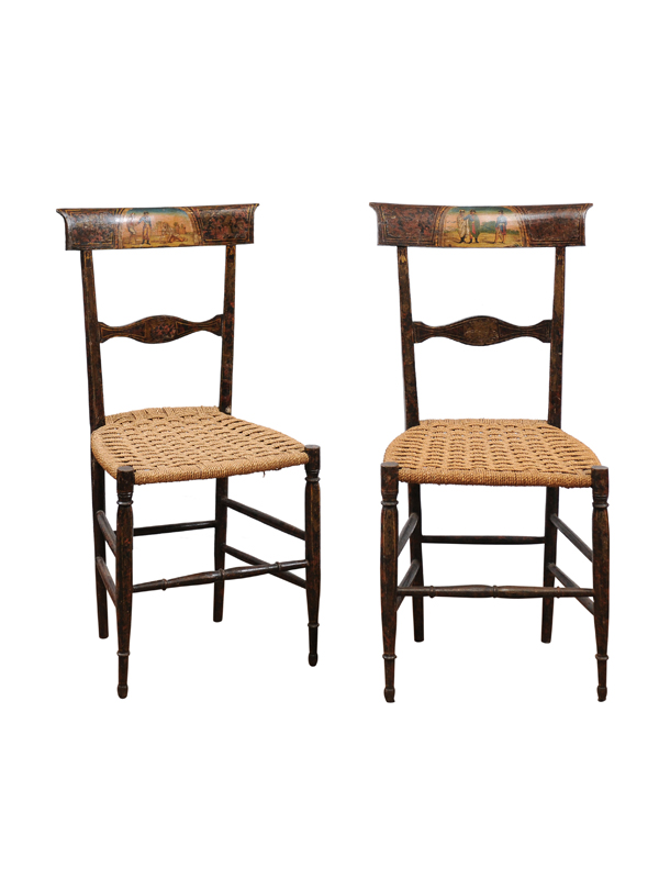 Pair 18th Century Italian Painted Side Chairs