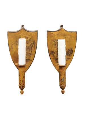 Pair Ochre Painted Tole Sconces