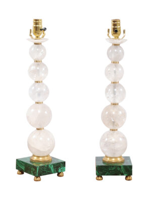 Pair Rock Crystal & Malachite Lamps