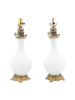 Pair of 19th Century White Glass & Brass Lamps