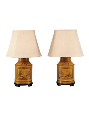 Pair of Tole Tea Cannister Lamps