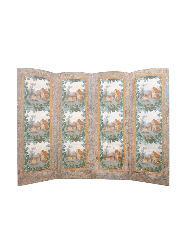 19th Century French Folding Screen with Landscape Scene