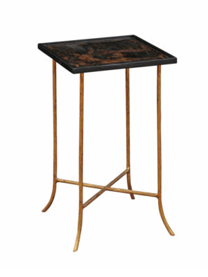 20th Century Black Lacquered & Gilt Metal Drink Table