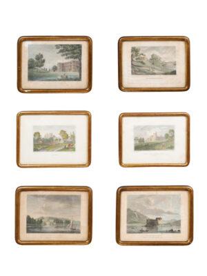 6 Gilt Framed English Engravings
