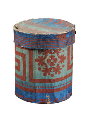 Blue & Green Paper Mache Cylindrical Box