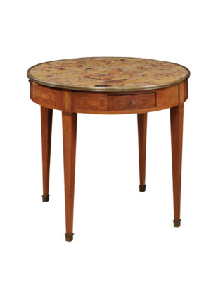 Marquetry Inlaid Bouillotte Table with Breche d'Alep Top