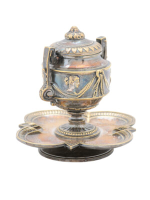 Neoclassical Style Silver Plate Inkwell