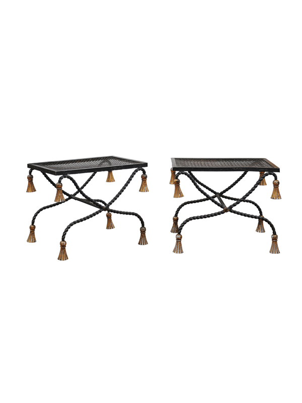 Pair 20th Century Painted Iron Benches