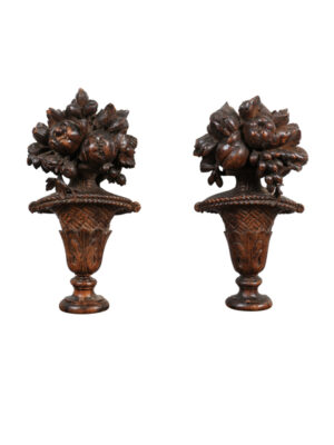 Pair Carved Flower Baskets