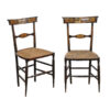 Pair Italian Black Painted Side Chairs with Rush Seats