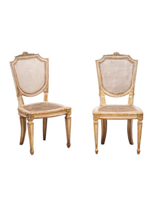 Pair Neoclassical Style Caned Side Chairs