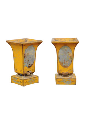 Pair Yellow Painted Tole Cachepots