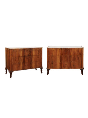 Pair of 19th Century Austrian Commodes with Inset Marble Tops