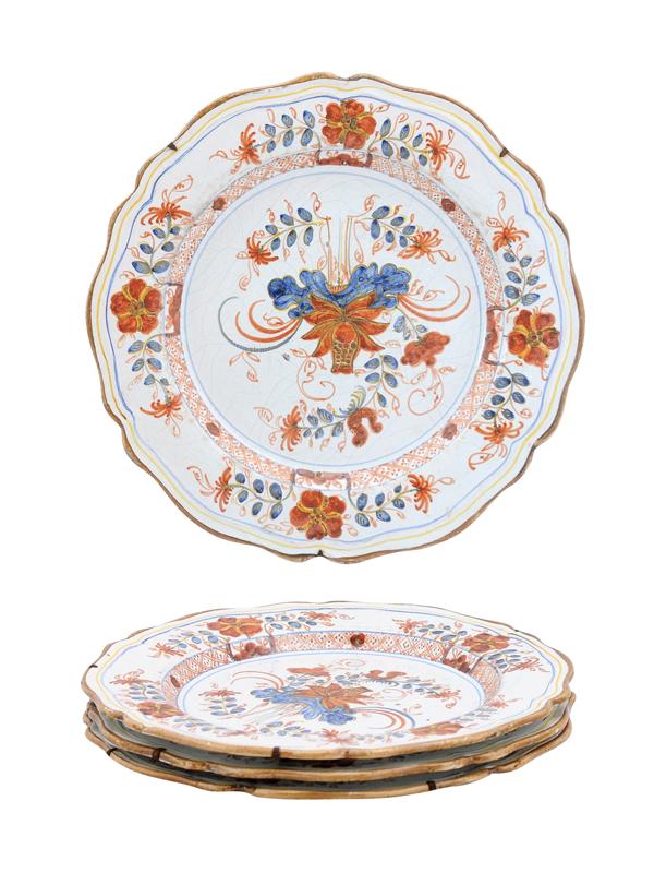 Set 4 19th Century Faience Plates