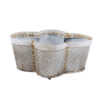 White Painted Tole Planter with Quatrefoil Design