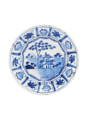 Blue & White Delft Charger with Kraak Scene