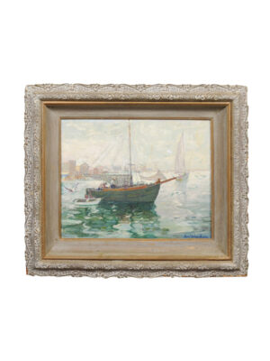 Carl Weisshaar Oil on Board Seascape in Painted Frame