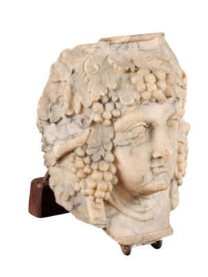 Carved Marble Bacchus Head