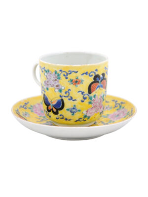 Chinese Yellow Porcelain Teacup & Saucer