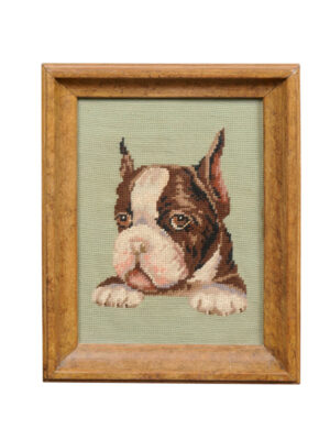 Framed Boston Terrier Needlework