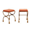 Pair Gilt Iron Benches with Velvet Seats