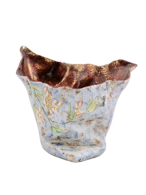 Vintage Ceramic Cachepot with Floral Decoration