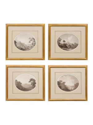 4 Giltwood Framed Landscape Lithographs