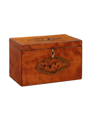 English Mahogany Tea Caddy with Shell Inlay