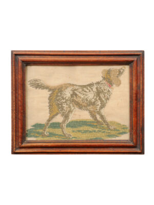 Framed 19th Century Dog Needlework